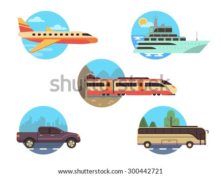 Transportation icon set in flat style. Illustrations vehicles for travel and tourism in the environment. Plane, ship, bus, car and train - stock vector