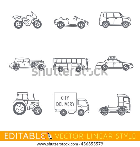 Transportation icon set include Semi truck Van Bus Minivan Old luxury car Taxi Tractor Cabriolet and Sport motorcycle. Editable vector graphic in linear style. - stock vector