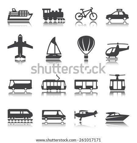 Transportation icon set. Silhouette. Shadow reflection. Vector set.  - stock vector