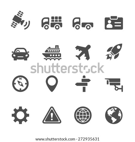 transportation icon set, vector eps 10. - stock vector