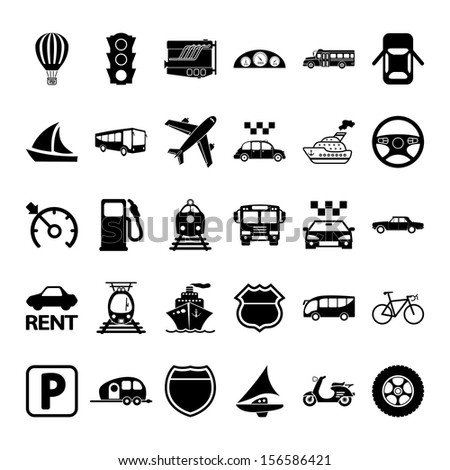 Transportation icon set. Vector illustration. - stock vector