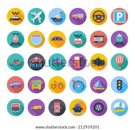 Transportation icon set with long shadow. Vector illustration. - stock vector