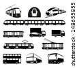 Transportation icons collection - vector silhouette. Public transportation set - stock vector