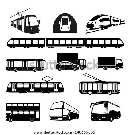 Transportation icons collection - vector silhouette. Public transportation set - stock vector