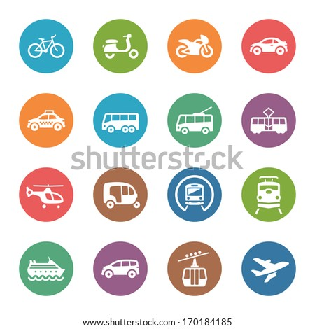 Transportation Icons - Dot Series  - stock vector