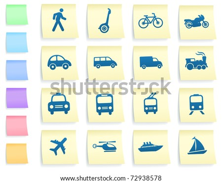 Transportation Icons on Post It Note Paper Collection Original Illustration