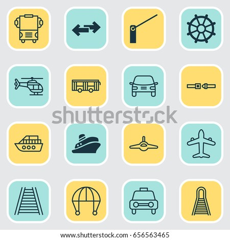 Transportation Icons Set. Collection Of Automobile, Safety Belt, Railroad And Other Elements. Also Includes Symbols Such As Barricade, Train, Ship.