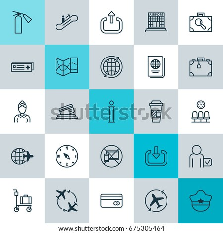 Transportation Icons Set Collection Hostess Suitcase Stock Vector