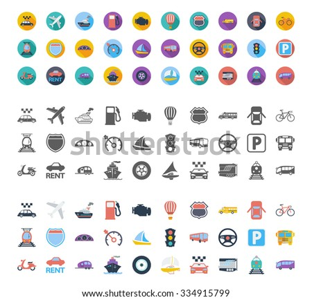 Transportation icons set. Flat vector related different styles icons set for web and mobile applications. It can be used as - logo, pictogram, icon, infographic element. Vector Illustration. - stock vector