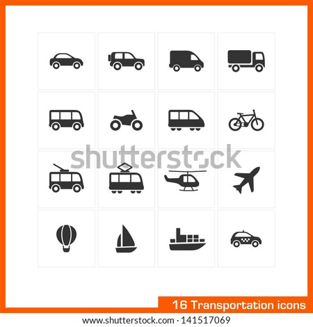 Transportation icons set. Vector black pictograms for business, industry, navigation, web, internet, computer and mobile apps: car, ship, airplane, helicopter, bicycle, motorcycle, tram, truck symbols - stock vector