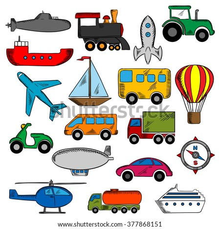 Transportation icons set with silhouettes of cars and buses, train and trucks, ship and airplane, motorcycle and sailboat, compass, tractor, helicopter, rocket, submarine, hot air balloon and airship  - stock vector