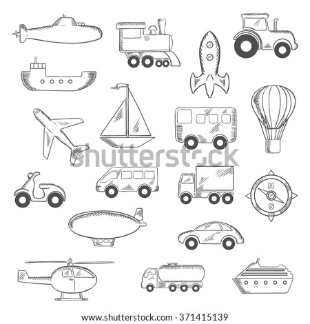 Transportation icons set with silhouettes of cars, buses, train, trucks, ship, airplane, motorcycle, sailboat, compass, tractor, helicopter, rocket, submarine, hot air balloon, airship. Vector sketch - stock vector