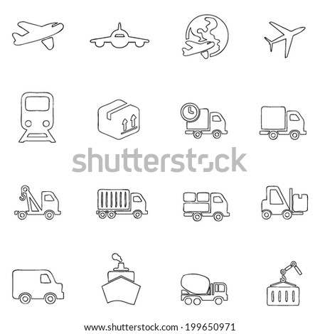 Transportation icons thin line drawing by hand Set 3 - stock vector