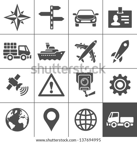 Transportation icons. Vector illustration. Simplus series - stock vector