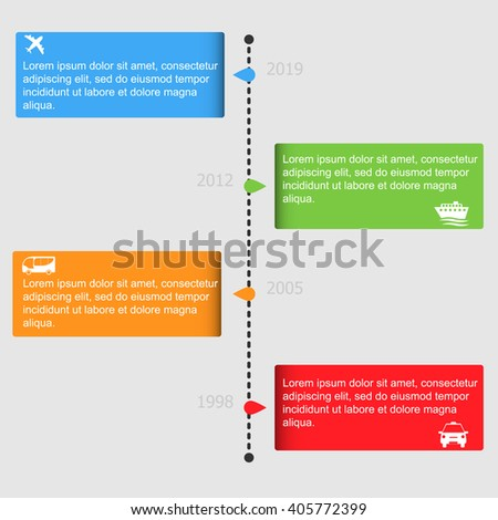 Transportation infographic. Timeline template. Vector illustration - stock vector