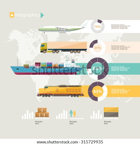 Transportation infographics. Flat design. - stock vector