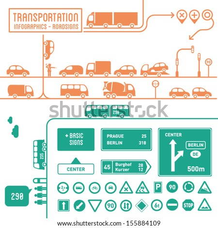 Transportation infographics with basic roadsigns - graphic elements set - stock vector