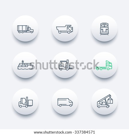 Transportation, line round modern icons, Cargo truck, Freight train, Forklift, vector illustration - stock vector