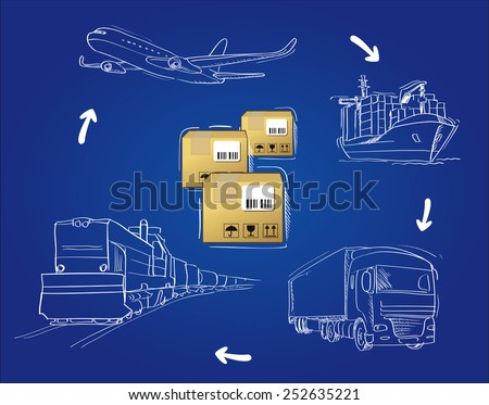 transportation of cargo by road, air, rail and sea - stock vector