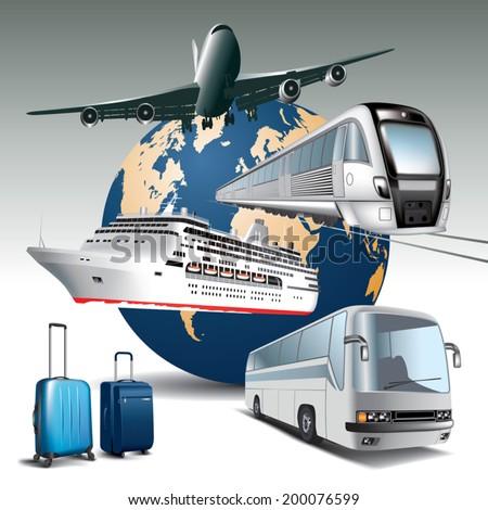 Transportation passenger by all means of transport.  Vector illustration - stock vector