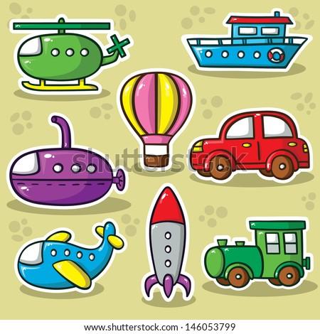 transportation set.  Collection of cute vector transportation toys - stock vector
