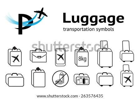 Transportation set. Luggage, baggage, liquid and food transportation icons. Hand luggage for traveling by aircraft. Linear icons Black symbols on white. Vector isolated - stock vector