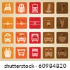 Transportation set of different vector web icons. Retro style. - stock vector