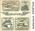 Transportation set stamp - stock vector