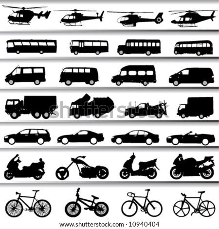 transportation set vector - stock vector