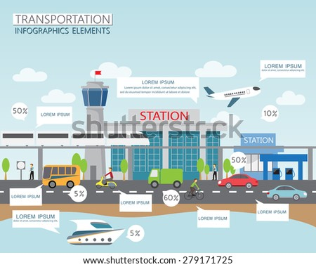 transportation, shipping and city traffic infographics element. can be used for workflow layout, diagram, web design, banner template. Vector illustration - stock vector