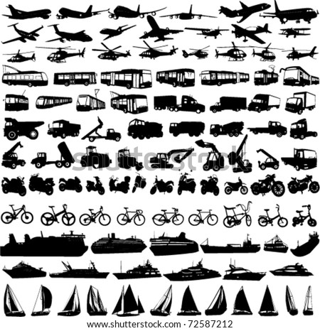 transportation silhouettes collection 2 - vector - stock vector