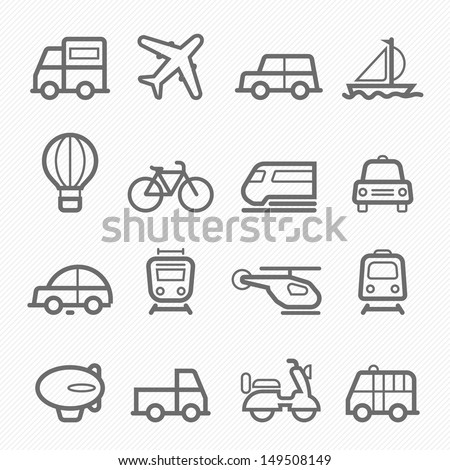 transportation symbol line icon on white background vector illustration - stock vector