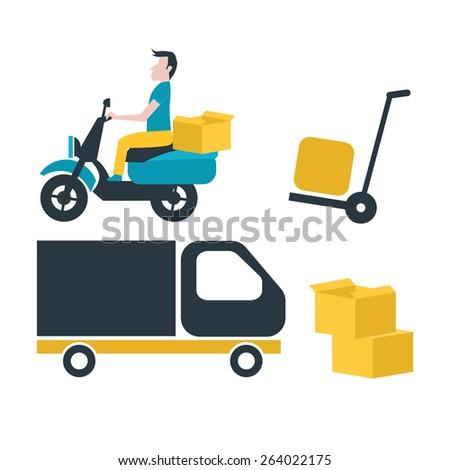 transportation symbols,Moving, vector - stock vector