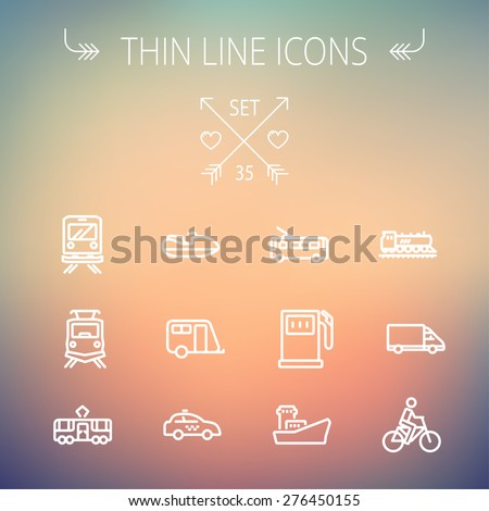 Transportation thin line icon set for web and mobile. Set includes- gas pump, vessel, car, train, bus, boat  icons. Modern minimalistic flat design. Vector white icon on gradient mesh background. - stock vector