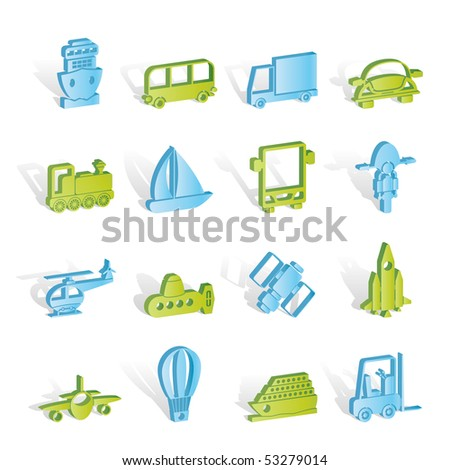 Transportation, travel and shipment icons - vector icon set - stock vector