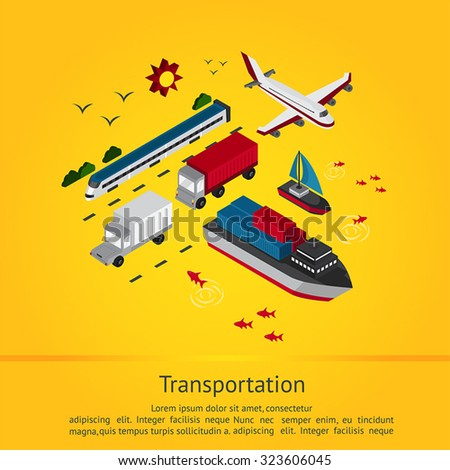 Transportation vehicle for tourism and logistic delivery service such as train boat sailboat truck ship plane and yacht in isometric icon set in yellow background with sample text, create by vector - stock vector
