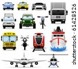 Transportation Vehicle Travel Car Truck Bus Train Airplane Ship Icon Set - stock vector