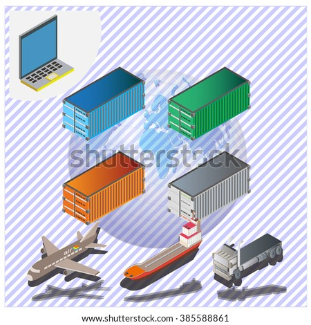 Transportcontainer isometric infographics set with cars and city public vehicles symbols vector illustration