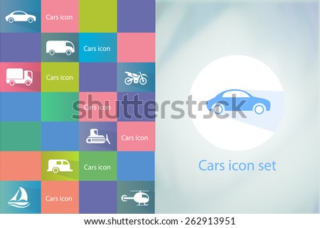 Transports icon set. Car icons set.Vector silhouettes of vehicles - stock vector