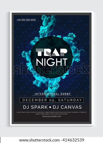 Trap Night Party Template, Dance Party Flyer, Night Party Banner or Club Invitation design. - stock vector