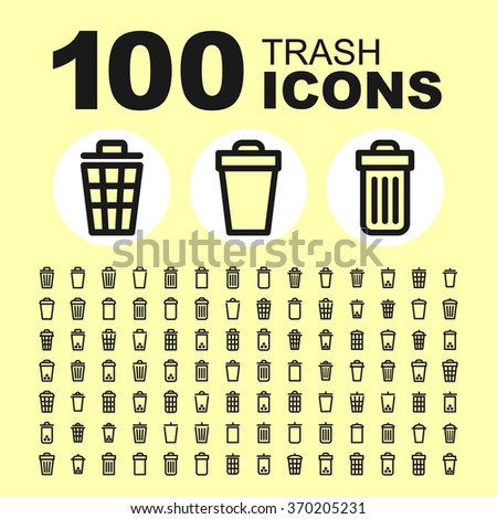 Trash and basket icons. Bin pictogram. Dustbin vector graphic. Delete design collection.  - stock vector