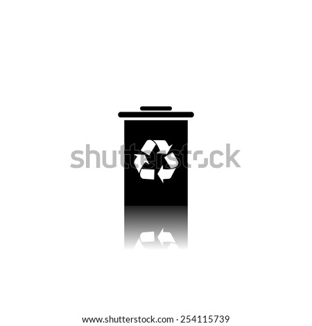 Trash bin icon - black vector illustration with reflection