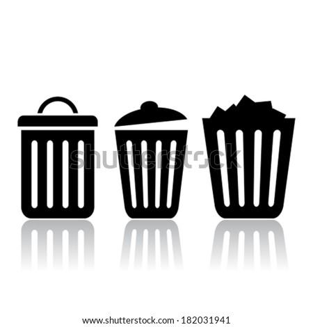 Trash bin icon, vector clip art - stock vector