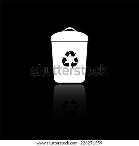 Trash bin icon - vector illustration with reflection isolated on black