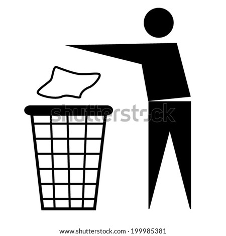 Trash bin or trash can with human figure symbol in vector - stock vector