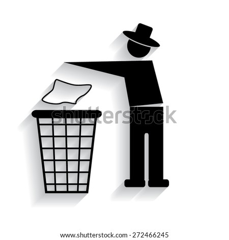 Trash bin or trash can with human figure symbol in vector with shadow
