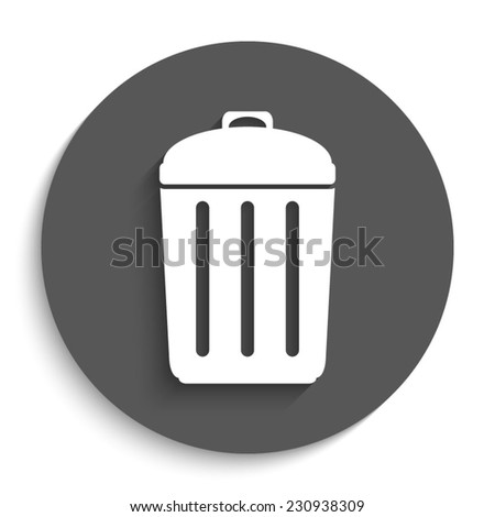 Trash bin - vector icon with shadow on a round grey button