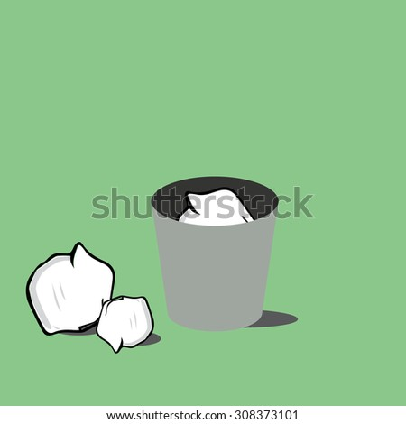 trash bin with crumpled paper. - stock vector