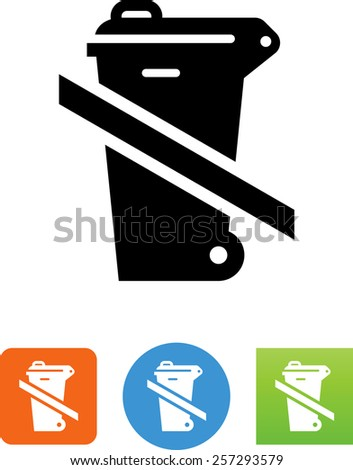 Trash bin with lid crossed out. Vector icons for video, mobile apps, Web sites and print projects.  - stock vector
