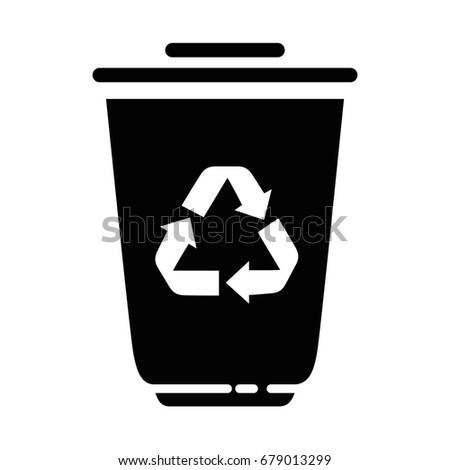trash bucket with recycle sign icon